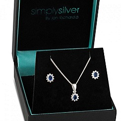 Simply Silver - Kate blue cubic zirconia mini pendant necklace and earring set