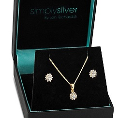 Simply Silver - Kate cubic zirconia mini gold pendant necklace and earring set
