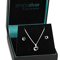 Simply Silver - Sterling silver cubic zirconia heart set