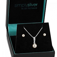 Simply Silver - Cubic zirconia and pearl drop necklace and earring set