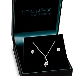 Simply Silver - Sterling silver cubic zirconia wave necklace and earring set