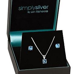 Simply Silver - Sterling silver blue cubic zirconia round drop necklace and earring set