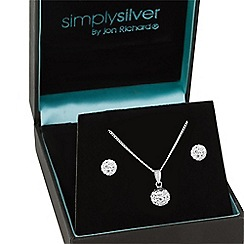 Simply Silver - Sterling silver crystal ball necklace and earring set