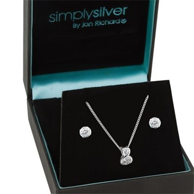 Simply Silver Sterling silver cubic zirconia twist drop