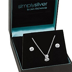 Simply Silver - Sterling silver cubic zirconia twist drop jewellery set