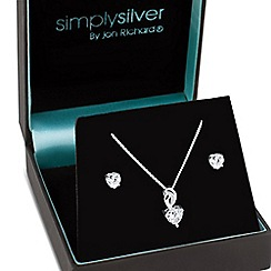 Simply Silver - Sterling silver cubic zirconia heart jewellery set