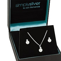 Simply Silver - Sterling silver cubic zirconia pearl drop jewellery set