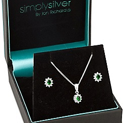 Simply Silver - Sterling silver Kate green cubic zirconia jewellery set