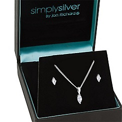 Simply Silver - Sterling silver cubic zirconia navette drop jewellery set