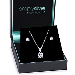 Simply Silver - Great value sterling silver cubic zirconia square drop jewellery set