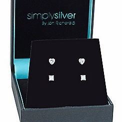 Simply Silver - Sterling silver round trio stud set box