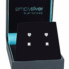 Simply Silver - Sterling silver round trio stud set box