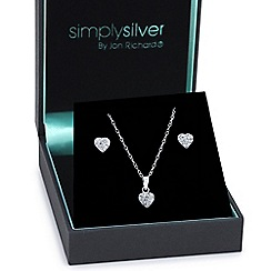 Simply Silver - Great value sterling silver crystal embellished heart jewellery set