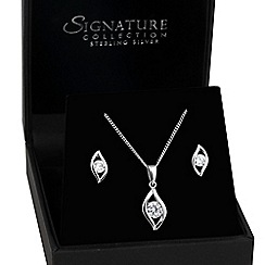 Simply Silver - Sterling silver cubic zirconia navette surround jewellery set