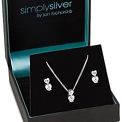 Simply Silver - Sterling silver double cubic zirconia heart jewellery set