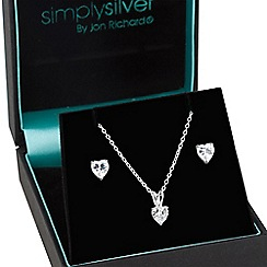 Simply Silver - Sterling silver cubic zirconia double heart jewellery set