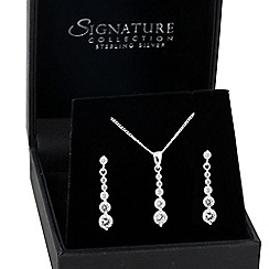 Simply Silver - Sterling silver round cubic zirconia graduated jewellery set