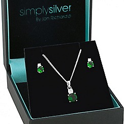 Simply Silver - Round green cubic zirconia drop jewellery set