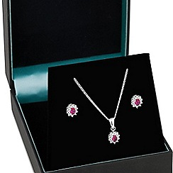 Simply Silver - Sterling silver red cubic zirconia Kate jewellery set