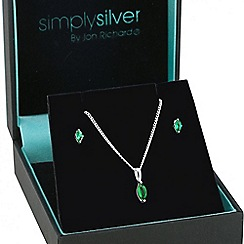 Simply Silver - Sterling silver green cubic zirconia navette jewellery set