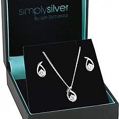Simply Silver - Sterling silver cubic zirconia swirl jewellery set