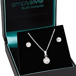 Simply Silver - Sterling silver aurora borealis crystal ball jewellery set