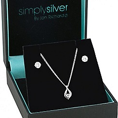 Simply Silver - Sterling silver cubic zirconia infinity drop jewellery set