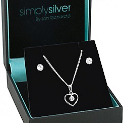 Simply Silver - Sterling silver cubic zirconia open heart jewellery set
