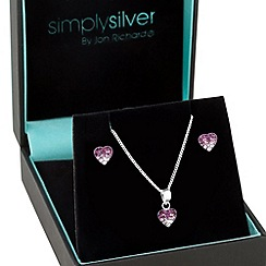 Simply Silver - Sterling silver ombre purple crystal heart jewellery set