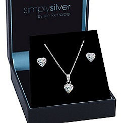 Simply Silver - Sterling silver aurora borealis pave heart pendant and earring set