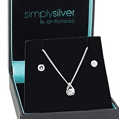 Simply Silver - Stering silver polished teardrop cubic zirconia set