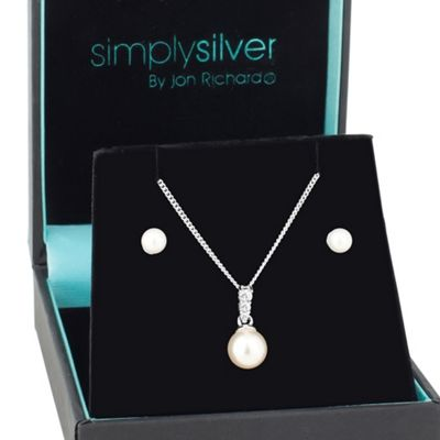 Simply Silver Cubic zirconia pearl drop pendant and earring