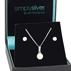 Simply Silver - Cubic zirconia pearl drop pendant and earring set