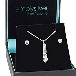 Simply Silver - Graduated twisted cubic zirconia pendant with matching earring