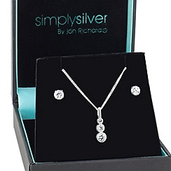 Simply Silver - Graduated trio cubic zirconia pendant with matching earring