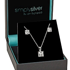 Simply Silver - Princess cubic zirconia pendant and earring set