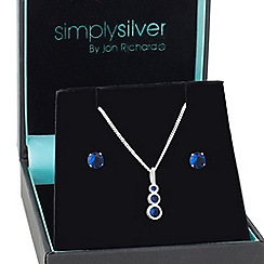 Simply Silver - Blue cubic zirconia graduated pendant and earring set