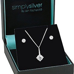 Simply Silver - Sterling silver pointed cubic zirconia stick pendant and matching earring set