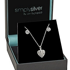 Simply Silver - Sterling silver tension set cubic zirconia heart necklace and earring set