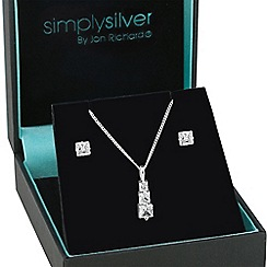 Simply Silver - Sterling silver cubic zirconia graduated square necklace with matching earring set