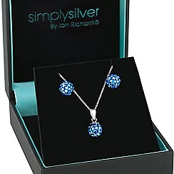 Simply Silver - Sterling silver blue aurora borealis pave ball necklace and earring set