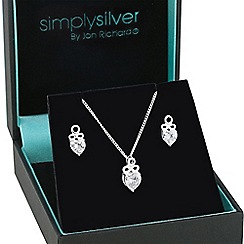 Simply Silver - Sterling silver cubic zirconia heart pendant and matching earring set
