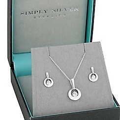 Simply Silver - Sterling silver cubic zirconia circle necklace and earring set