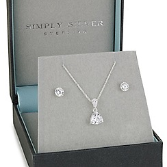 Simply Silver - Sterling silver trillion cut cubic zirconia necklace and earring set
