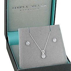 Simply Silver - Sterling silver cubic zirconia infinity pendant and matching earring set