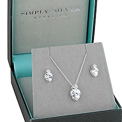 Simply Silver - Sterling silver cubic zirconia heart necklace with matching earring set