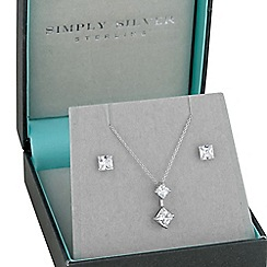 Simply Silver - Sterling Silver Square Double Drop Pendant Necklace And Earring Set
