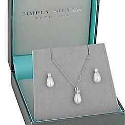 Simply Silver - Sterling silver peardrop pearl necklace and matching earring set