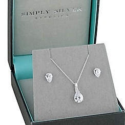 Simply Silver - Sterling Silver Cubic Zirconia Peardrop Pendant Necklace And Earring Set