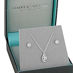 Simply Silver - Sterling Silver Floating Cubic Zirconia Twist Necklace And Earring Set
